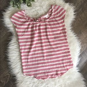 Lauren Conrad red / white stripe tie back top